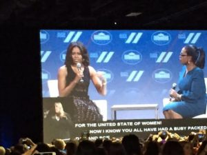 """We can never be complacent and think we have arrived….the work continues."" - Michelle Obama at United State of Women"